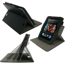 "rooCASE for Amazon Kindle Fire HD 7"" 2012 Dual-View Vegan Leather Black Lot C14"