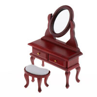 1:12 Dollhouse Miniature Bedroom Dressing Table Stool with Movable Mirror