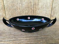 Imperial / LE Smith Black Glass Two Handle Oval Bowl Hand Painted Floral Daisy