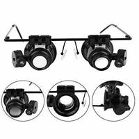 20X Magnifying Magnifier Eye Glass Loupe Jeweler Watch Repair Tool w/ LED Light