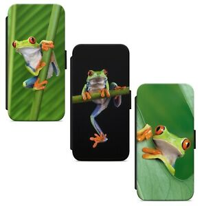 Green Frog Wildlife WALLET FLIP PHONE CASE COVER FOR IPHONE SAMSUNG HUAWEI