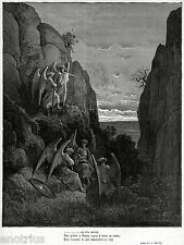 L'ANGELO URIEL DENUNCIA A GABRIELE UN INTRUSO IN PARADISO. G.Doré. Milton.1887