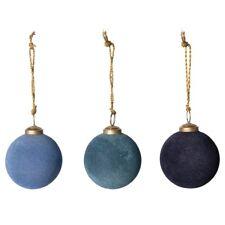 """3"""" Blue Ombre Hue Velvet Flocked Glass Ball Christmas Ornament Set of 3"""
