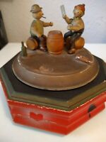 VINTAGE GERMAN MUSIC BOX TOY TWO MEN SITTING PLAYING CARDS NEEDS NEW MUSIC BOX