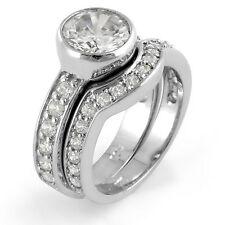 Round Cubic Zirconia Wedding Bridal Set Engagement Ring Sterling Silver Sz 6.5