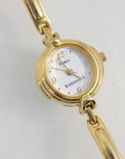 Timex Esenciales Reloj Mujer METAL DORADO Banda blanco dial analógico