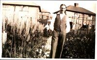 Gentleman in English garden RPPC real photographic postcard antique waist coat