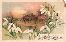Lovely Snowdrops Around Scene of Family on Road to Church-1914 Winsch Easter PC