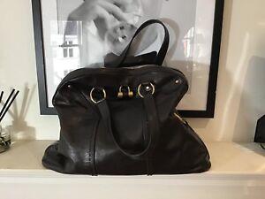 "Yves Saint Laurent ""muse"" Medium Size Bag Dark Brown Leather"