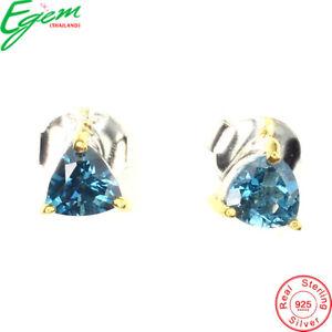 Natural Trilliant Cut 5 mm London Blue Topaz 2-tone 925 Sterling Silver Earrings