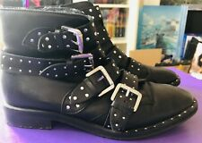 River Island Black Silver Stud Buckle Ankle Boots - Size 7 - Excellent Condition