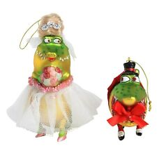Mr & Mrs Christmas Crocodile Glass Bauble Decorations / Ornaments