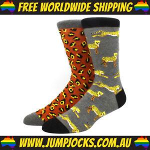 Leopard Print Mixed Dress Socks - Cotton, Novelty *FREE WORLDWIDE SHIPPING*