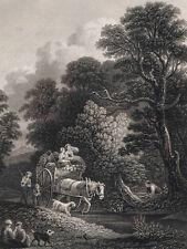 Farmer's Daughters Taking Horse & Cart to Market- 1832 Engraved Print Plus BONUS