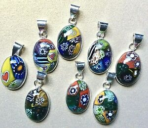 JOBLOT 5 X DICHROIC GLASS HAND PAINTED PENDANTS FROM INDIA, STAMPED 925