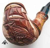 """HAND CARVED Tobacco Smoking Pipe/Pipes """"SHIP VESSEL SAILBOAT""""+ Free GIFT!"""