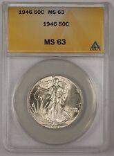 1946 Walking Liberty Silver Half Dollar Coin ANACS MS-63 (2)