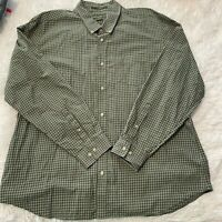 Eddie Bauer Mens Size XL Green Plaid Long Sleeve Button Down Shirt Relaxed Fit