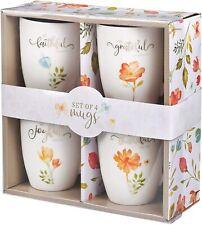 Mug Set Stoneware 4 PC Grateful Floral