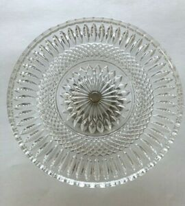 """Vintage Crystal Cake Stand; Silver-plate Base; 11"""" across; 3 1/2' tall"""