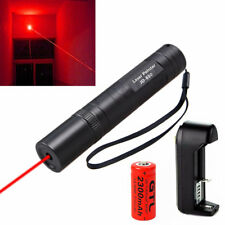 Tactical RED Laser Pointer 5mw Lazer Visible Beam+3.7v 16340 Battery+Charger US