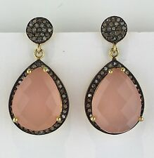 1.03cts Natural Pave Diamond Pink Onyx 18K Gold Vermeil Silver Dangle Earrings