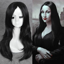 Morticia Addams Adams Family cosplay wig long black natural straight full wigs