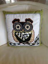 """MacKenzie Childs 14"""" Owl Pillow NWT"""