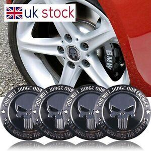 4x Skull 56mm Car Wheel Center Hub Caps Stickers Emblem Badge Decal