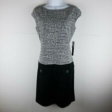 NWT Luxology Sleeveless Dress Size 6 Woman's Black Gray White Tweed Buttons