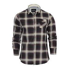 Mens Check Shirt Brave Soul Impala Flannel Brushed Cotton Long Sleeve Casual Top Wine / Ecru Large