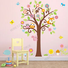 Owls Wall Stickers Animal Tree Forest Friends Fox Squirrel Kids Room Decor Decal