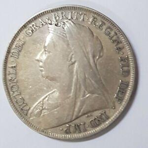 1895 Great Britain Victoria Crown 0.925 Silver Coin VF+, Original  @ {KM#783}