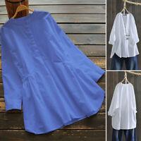 ZANZEA Femme Chemise Loisir Coton Manche Longue Casual en vrac Haut Shirt Plus