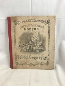 Orig. 1866 Colton & Fitch School Geography Engravings & 40 Hand Colored Maps
