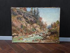 Gebirgsbach in den Alpen. MÜNCHNER SCHULE. Original antikes Ölgemälde um 1880