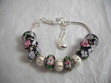 Lampwork & Silver European Style Bracelet Black, Pink & White NWOT