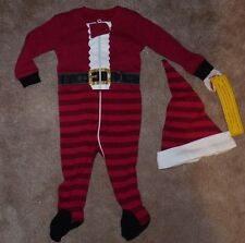 NEW Petit Lem Boys Sleeper Pajama Hat Set Holiday Christmas 6M Santa NEW NWT