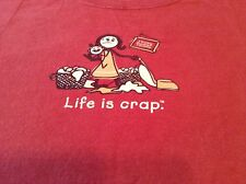 Life Is Crap Housewife T-Shirt Tee Laundry Vacuum Crying Baby Maroon Cotton