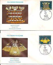 2 LETTRE COVER,POLYNESIE,LSC,1° JOUR,Yv 138+139,Papeete 14/7/1979,Habits danse