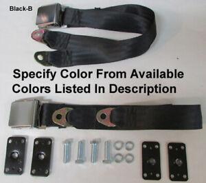 """Retro 2 Point Seat Belt Lap Seatbelt Set + Retrofit Mtg Kit - Specify Color -74"""""""