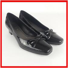 Clarks Womens Black Patent Slip On Square Toe Court Shoe UK 8 / 42 Bow Ladies B3
