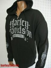 nwt Men's HARLEY DAVIDSON *Old Text* Full Zip Black Hoodie Sweatshirt