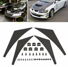 4pc Black Universal Front Bumper Splitter Fins Body Spoiler Canards Valance Chin