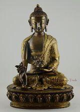 "8.25"" Medicine/Menla Buddha Oxidized Copper Alloy Golden Paint Statue Patan"