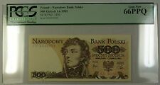 1.6.1982 Poland National Bank 500 Zlotych Note SCWPM# 145d PCGS GEM New 66 PPQ