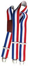 Bretelle enfant 3 bandes bleu blanc rouge à pinces .Triangle dos cuir bordeaux