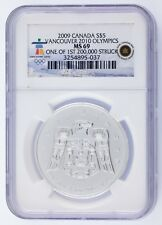 2009 Canada Silver $5 Vancouver 2010 Olympics Graded by NGC as MS-69
