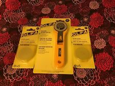 OLFA ORIGINAL ROTARY CUTTER & 10 - 45mm BLADES. $33.00 FREE SHIP