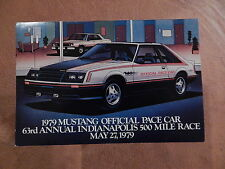 NOS MUSTANG ORIGINAL FORD ISSUE SALES MAILER POSTCARD 1979 INDY 500 PACE CAR 79